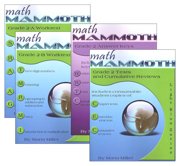 Math Mammoth Light Blue Series Grade 2 Colored Package