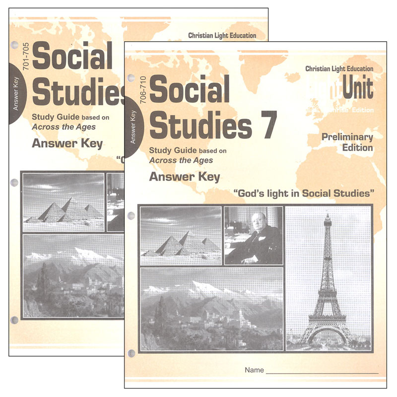 Social Studies 701-710 LightUnit Answer Key Set Sunrise Preliminary Edition