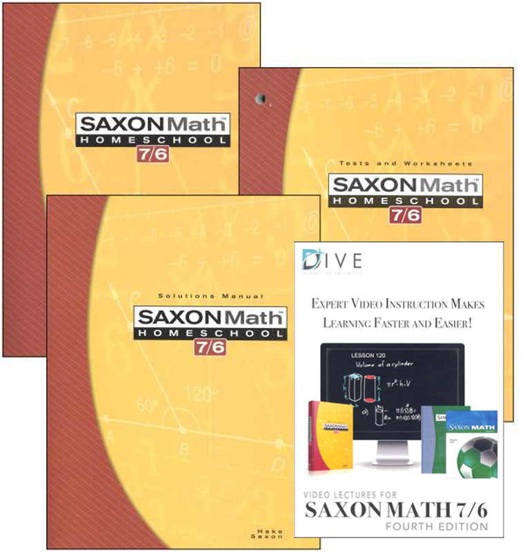 Math 7/6 4th Edition Saxon Home Study Kit plus DIVE CD-ROM
