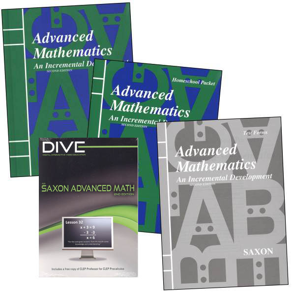 Advanced Math 2nd Edition Saxon Home Study Kit plus DIVE CD-ROM