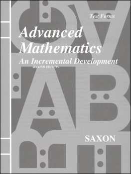 Saxon Advanced Math 2ED Consumable Tests Only