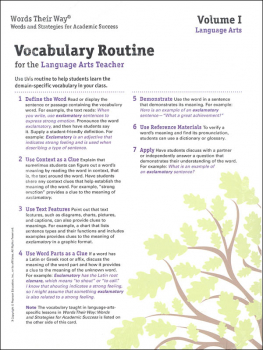 Words Their Way: Vocabulary for Middle & High School 2014 Vocabulary Routine Cards Volume I