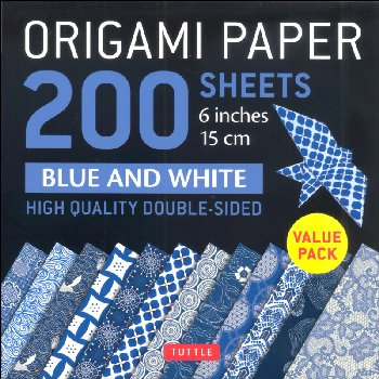 Origami Paper - 200 Sheets Blue and White Pattern 6""