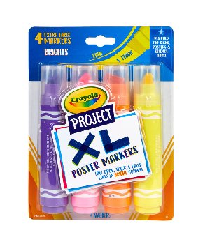 Crayola Project: XL Poster Markers - Bold & Bright (4 count)