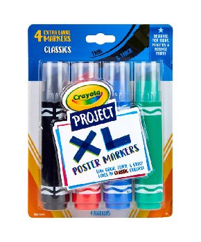 Crayola Project: XL Poster Markers - Classic (4 count)