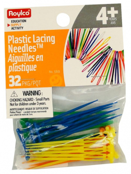 Lacing Needles, Plastic, Rounded Tip, 32/pkg