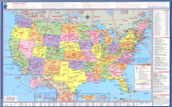 "USA/World Laminated Desk Map 18"" x 11.375"""