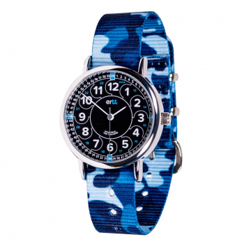 EasyRead Time Teacher 24 Hour Camo Watch - Black/Blue Face, Blue Camo Strap