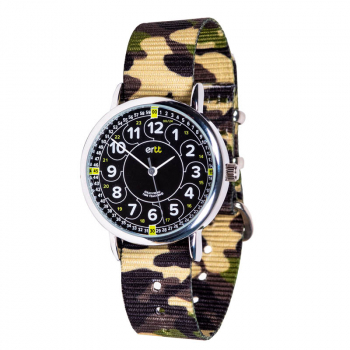 EasyRead Time Teacher 24 Hour Camo Watch - Black/Green Face, Green Camo Strap