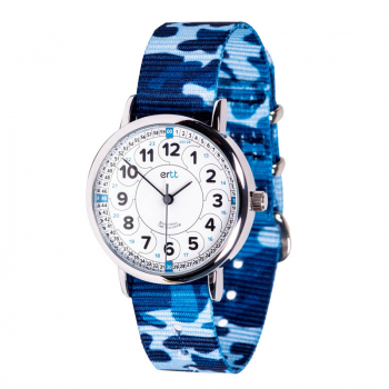 EasyRead Time Teacher 24 Hour Camo Watch - White/Blue Face, Blue Camo Strap