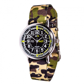 EasyRead Time Teacher Past & To Camo Watch - Black/Green Face, Green Camo Strap