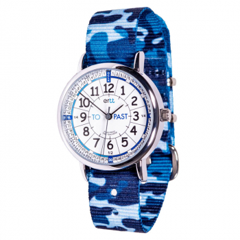 EasyRead Time Teacher Past & To Camo Watch - White/Blue Face, Blue Camo Strap