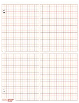 "Graph Paper, 4 Quadrant 1/4"" Squares (100 sheet pack) - Red"
