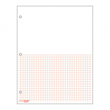 "Graph Paper, Classic Half-sheet 1/4"" Squares (100 sheet pack) - Red"
