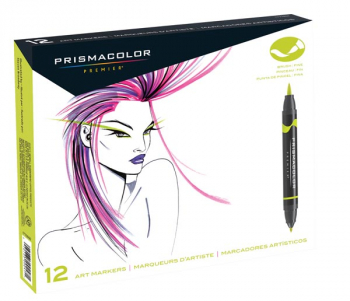 Prismacolor Art Markers (brush tip/fine tip) 12 count