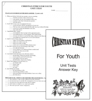 Christian Ethics Tests and Answer Key