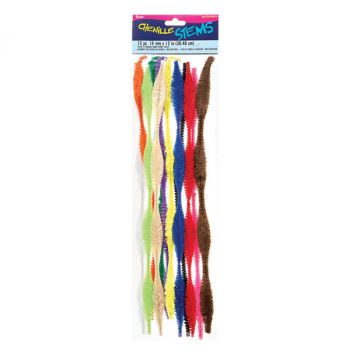 "Chenille Bump Stems- Multicolor (15mm x 12"") 12 pieces"