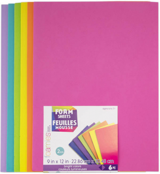 "Foamies Sheets Bright Colors (9""x12"") - 6 sheets"