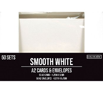 Smooth Kraft A2 White Cards and Envelopes - 50 sets
