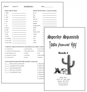 Speedy Spanish Book 1 Tests and Answer Key