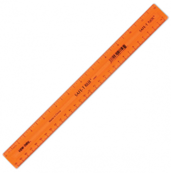 "Safe-T Ruler, Orange, Translucent (12""/30CM)"