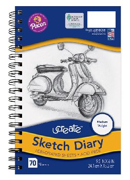 "UCreate Sketch Diaries (9.5""x6"") - 70 sheets"