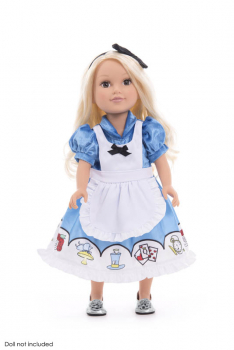 Alice in Wonderland Doll Dress with Apron & Bow