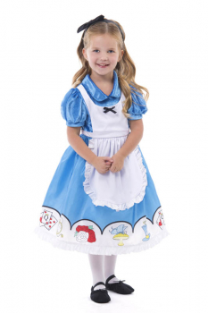 Alice In Wonderland Dress with Apron & Bow Medium
