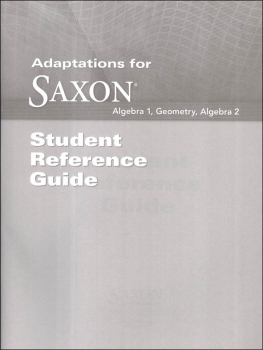 Saxon Math Student Reference Guide Adaptation
