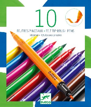 10 Felt Tip Brush Pens - Classic Felt Tips
