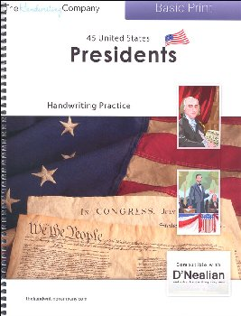 45 United States Presidents Character Writing Worksheets D'Nealian Basic Print