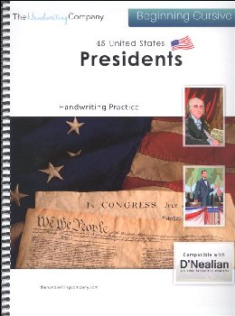 45 United States Presidents Character Writing Worksheets D'Nealian Beginning Cursive