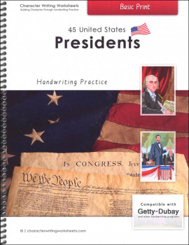45 United States Presidents Character Writing Worksheets Getty Dubay Italic Basic Print