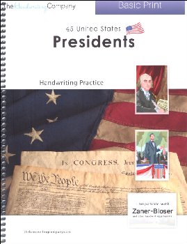 45 United States Presidents Character Writing Worksheets Zaner-Bloser Basic Print