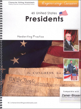 45 United States Presidents Character Writing Worksheets Zaner-Bloser Beginning Cursive