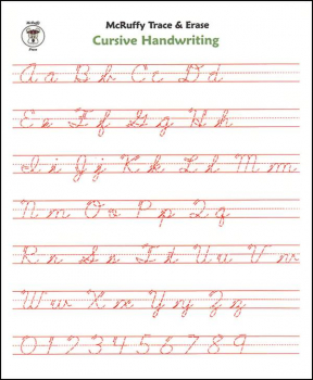 Trace & Erase Alphabet Handwriting Sheets: Cursive
