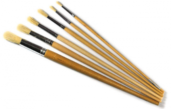 General Purpose White Bristle 6 Round Brushes