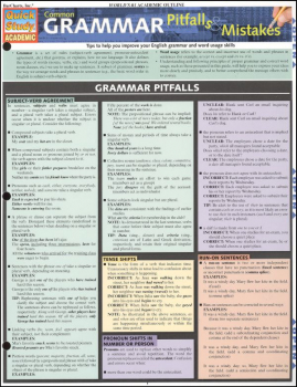 Common Grammar Mistakes & Pitfalls Laminated Guide