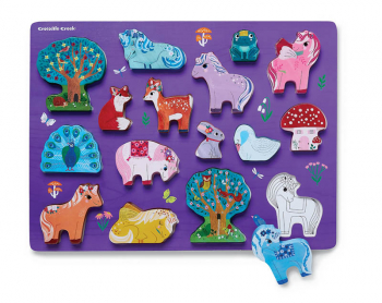 Let's Play Wood Puzzle + Playset - Unicorn Garden (16 pieces)