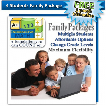 Family Math Package for 4 Students: 1 month free trial