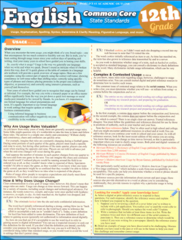 English Common Core State Standards 12th Grade Quick Study