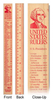 U.S. Presidents Wooden Ruler