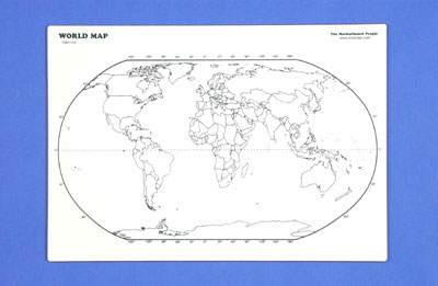 "World Map Outline Write 'n Wipe Bd 13"" x 18"""