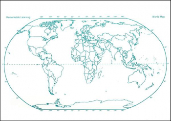 "World Map Dbl Sided Dry Erase Board 11"" x 16"""