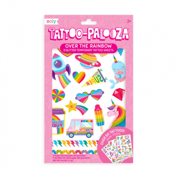 Tattoo Palooza Temporary Tattoos with Glitter - Over the Rainbow