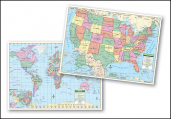 U.S. and World Double-Sided Placemat Map