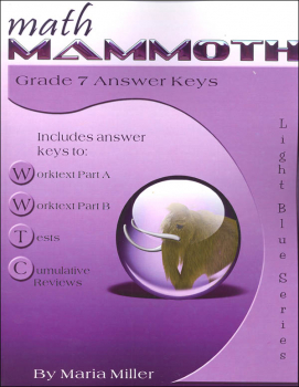 Math Mammoth Light Blue Series Grade 7 Answer Key (Colored Version)