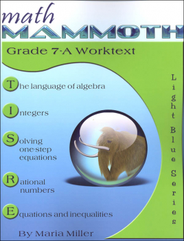 Math Mammoth Light Blue Series Grade 7-A Worktext (Colored Version)