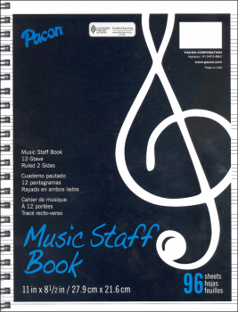 Music Staff Paper - Spiral Bound Book (96 sheets)