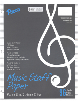 Music Staff Paper - 3 Hole Punched (96 sheets)